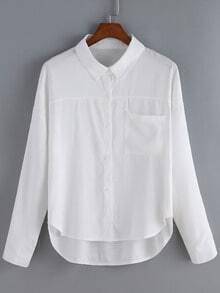 White Lapel Pocket Dip Hem Blouse
