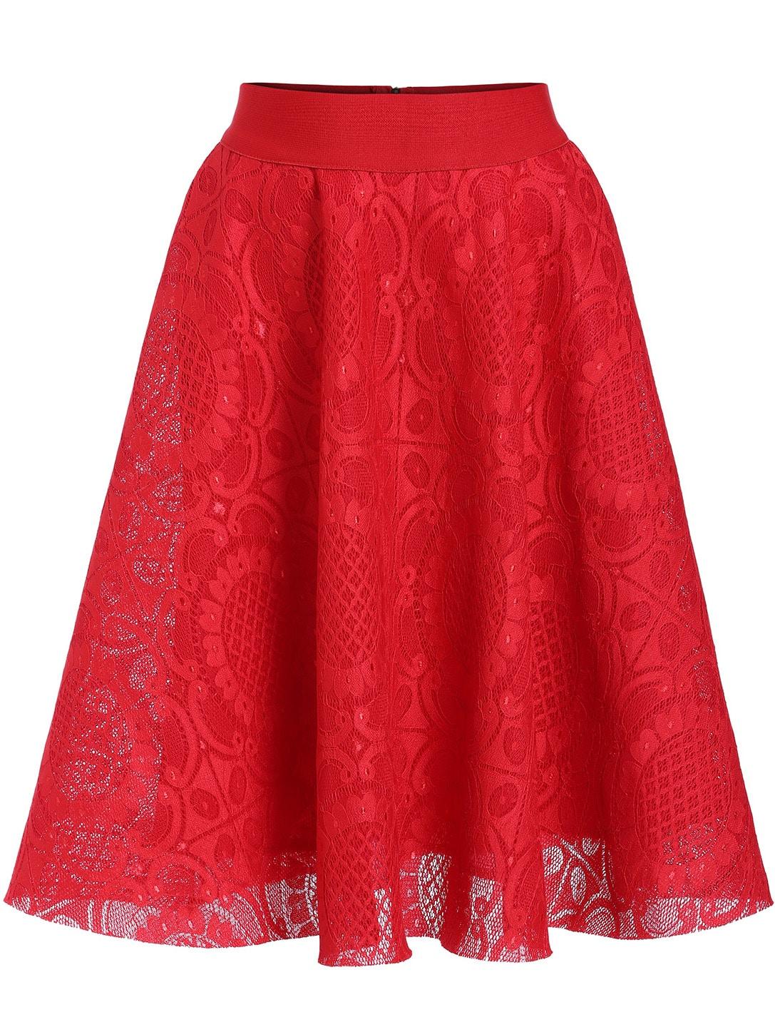 high waist lace flare skirt shein sheinside