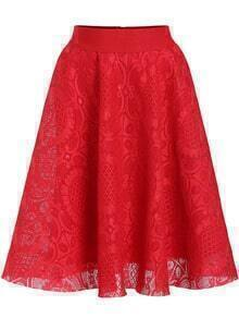 Red High Waist Lace Flare Skirt