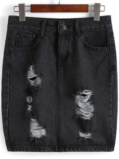 Black Pockets Ripped Bodycon Denim Skirt