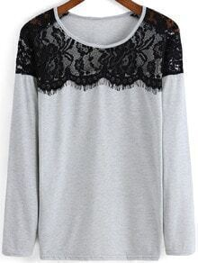 Grey Round Neck Lace Loose T-Shirt