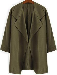 Green Casual Lapel Loose Trench Coat