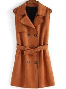 Brown Lapel Double Breasted Tie-waist Vest