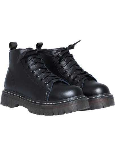 Black Thick-soled Round Toe Boots