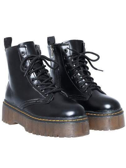 Black Casual Thick-soled PU Boots