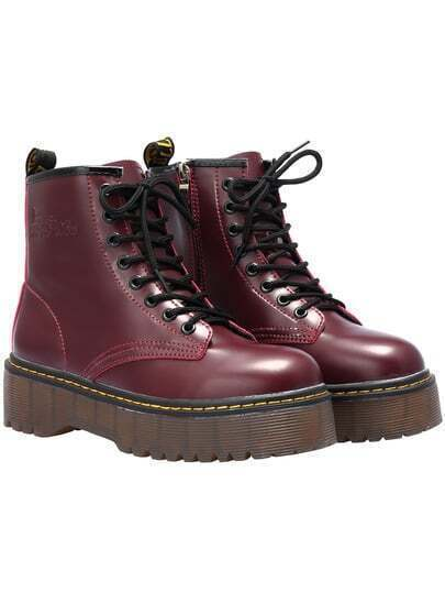 Wine Red Casual Thick-soled PU Boots