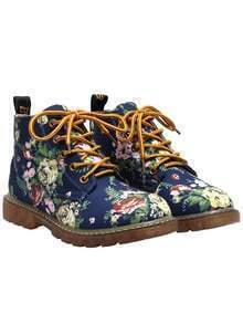 Blue Chunky Heel Floral Casual Boots