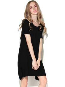 Black Round Neck Short Sleeve Casual Dress