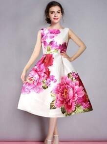 Multicolor Round Neck Sleeveless Hibiscus Floral Flare Dress