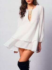 Whites Chemise Long Sleeve Double Layers Chiffon Blouse