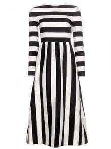 Black White Monochrome Banded Round Neck Striped Dress