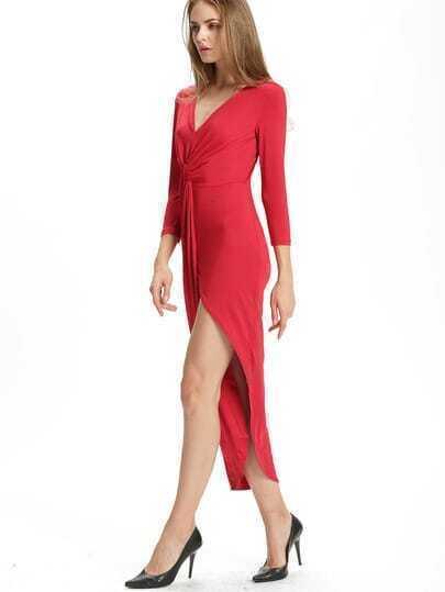 Wine Red V Neck Slim Asymmetrical Dress