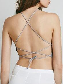 Grey Criss Cross Back Lingerie
