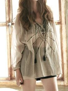 Khaki Tie-neck Embroidered Casual Blouse