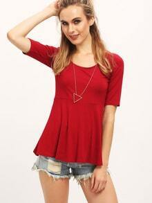 Wine Red Scoop Neck Ruffle Slim Blouse
