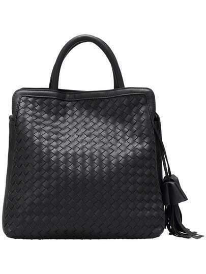 Black Tassel Weave PU Tote Bag