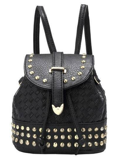 Black Bead PU Backpack