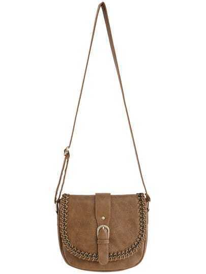 Brown Chain Embellished Buckle Satchel Bag