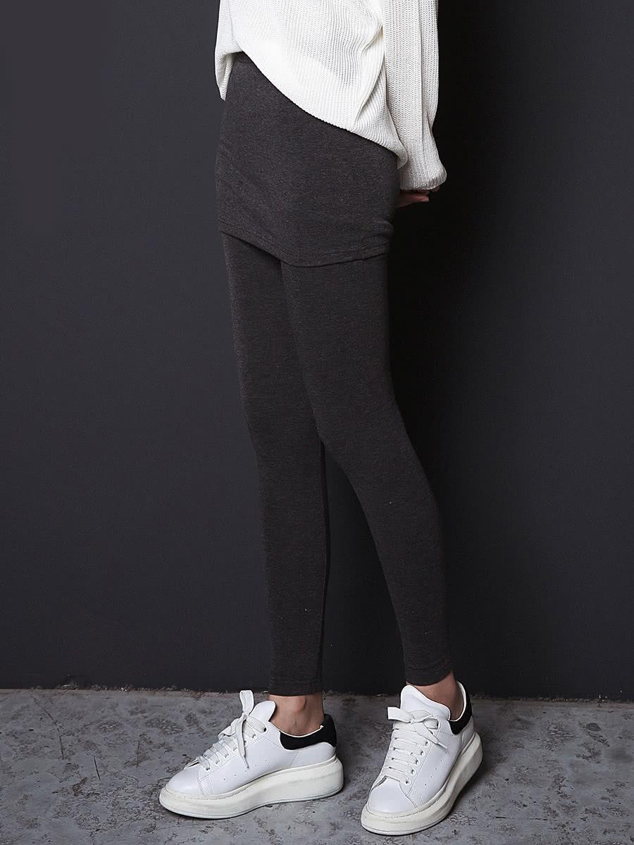 Dark Grey Skinny Fashion Skirt Leggings