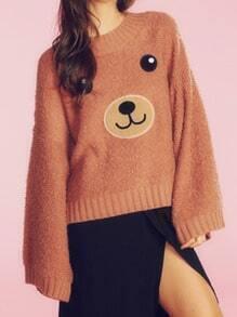 Orange Bear Pattern Shaggy Sweater