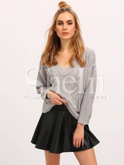 Jersey manga larga cuello V -gris