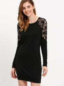 Black Crochet Long Sleeve With Lace Dress