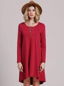 Wine Red Cheesecloth Long Sleeve Casual Dress
