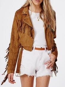 Brown Long Sleeve Laple Tassel Jacket