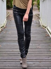 Black PU Leather Slim Pant