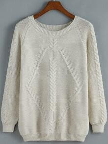 Apricot Round Neck Cable Knit Loose Sweater