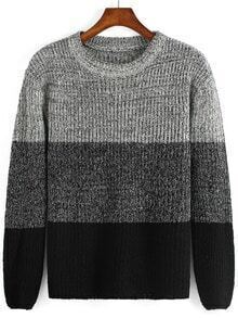 Colour-block Round Neck Knit Loose Sweater