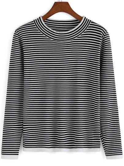 Black White Round Neck Striped Crop Knitwear