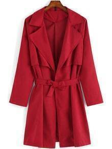 Red Lapel Tie-waist Casual Trench Coat