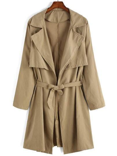 Khaki Lapel Tie-waist Casual Trench Coat