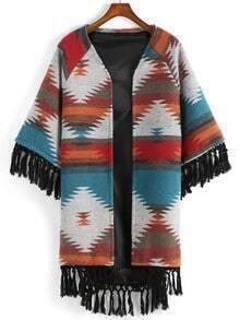 Multicolor Geometric Print Tassel Coat