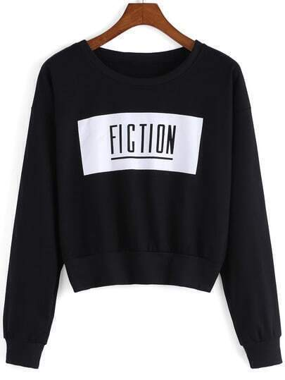 Black Round Neck Fiction Print Crop Sweatshirt