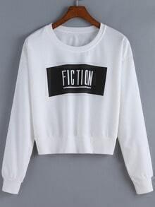White Round Neck Fiction Print Crop Sweatshirt