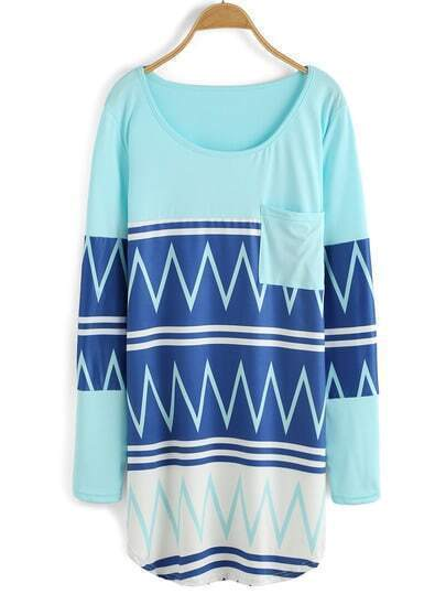 Blue Round Neck Geometric Print Pocket Dress