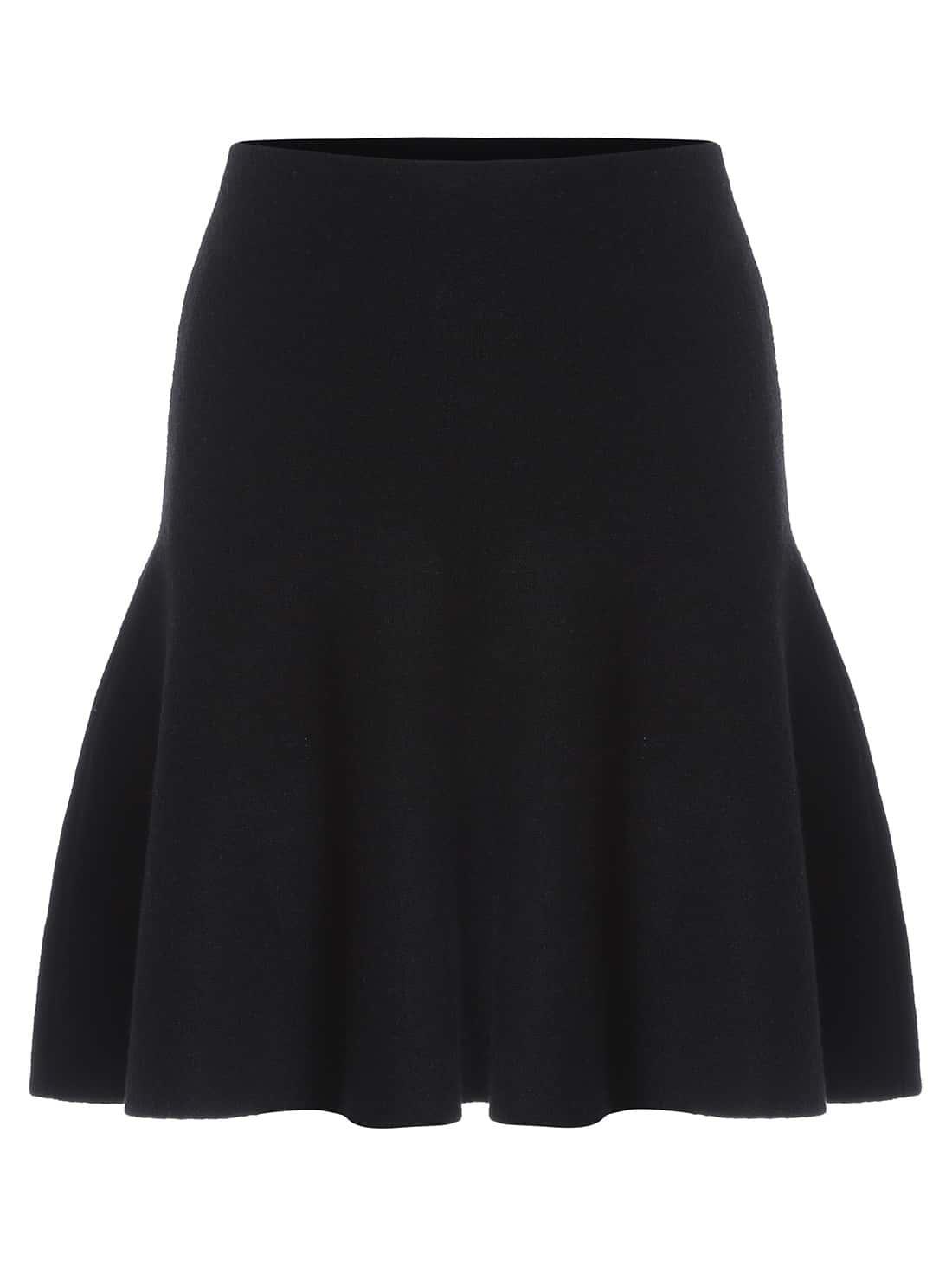 Black High Waist A Line Skirt