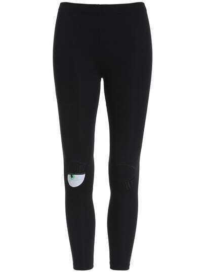 Black Eyelash Embroidered Leggings