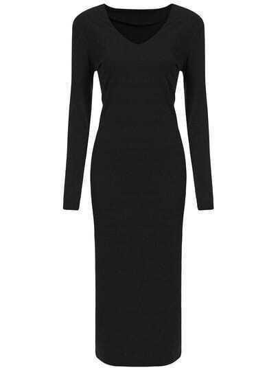 Black V Neck Long Sleeve Slim Sweather Dress
