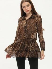 Leopard Lapel Buttons Ruffle Chiffon Dress