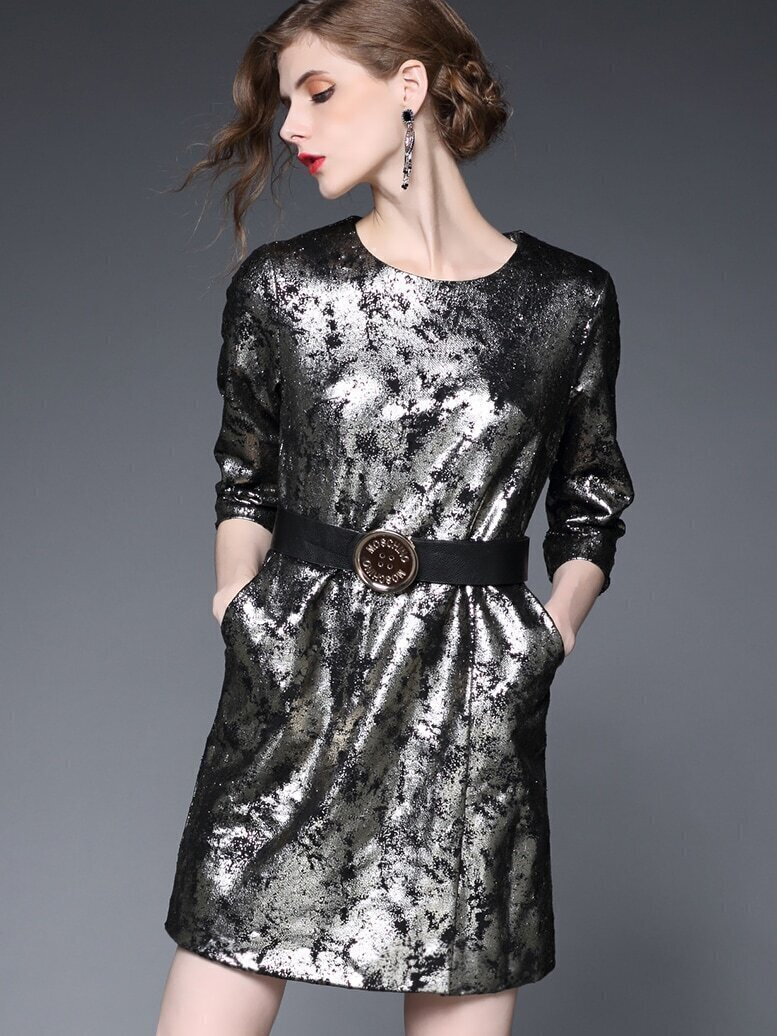 Multicolor Round Neck Length Sleeve Drawstring Dress