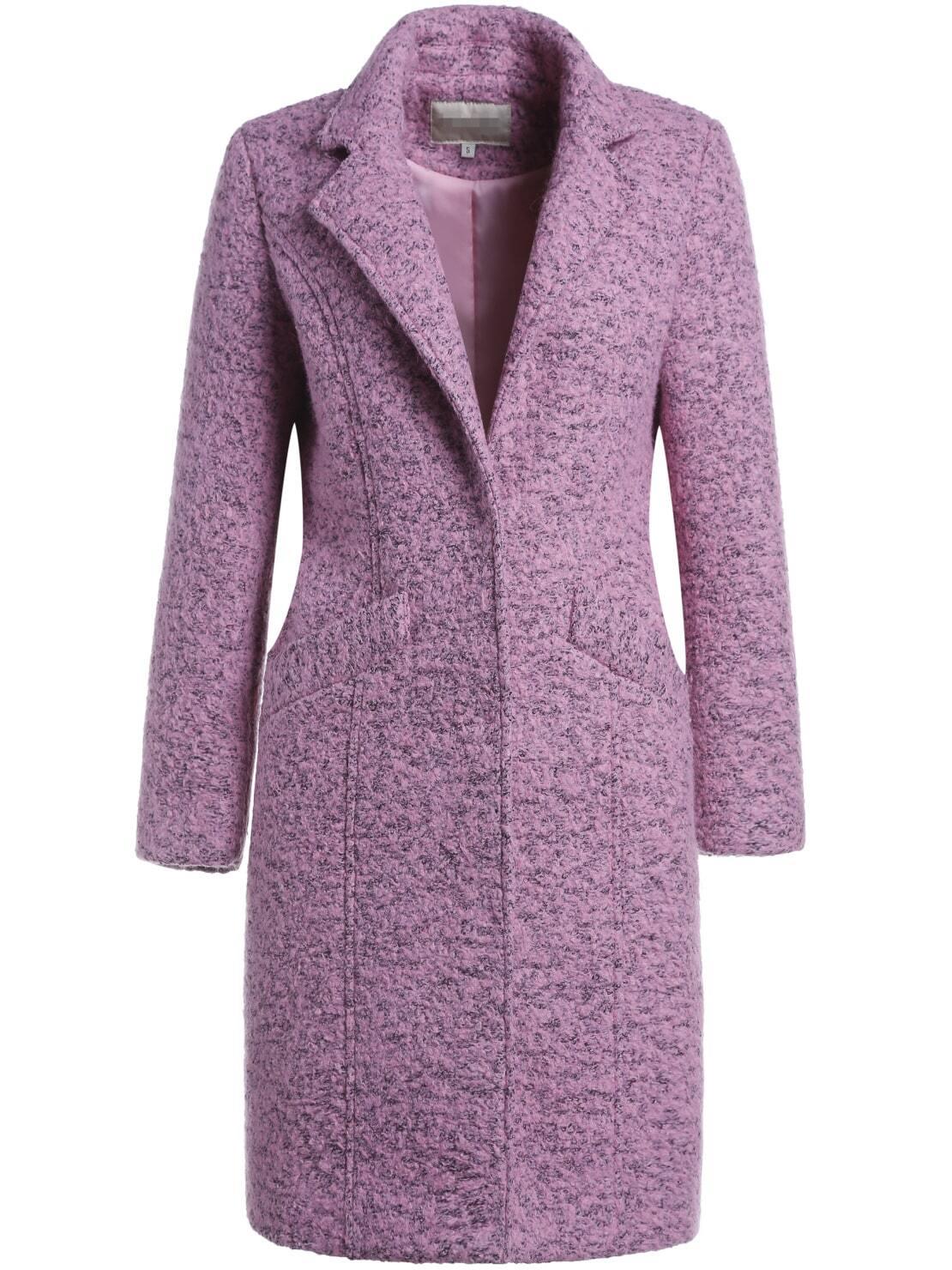 Purple V Neck Long Sleeve Wool-Blend Coat