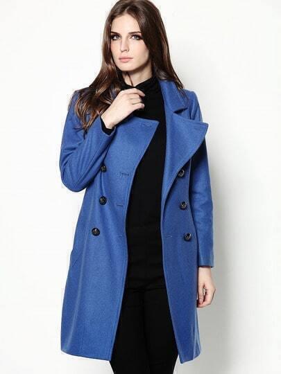 Blue V Neck Long Sleeve Wool-Blend Coat