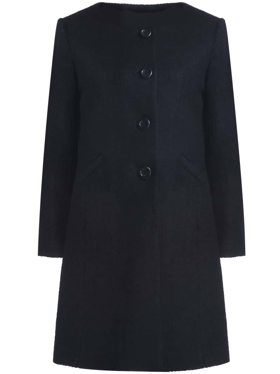 Black Round Neck Long Sleeve Wool-Blend Coat