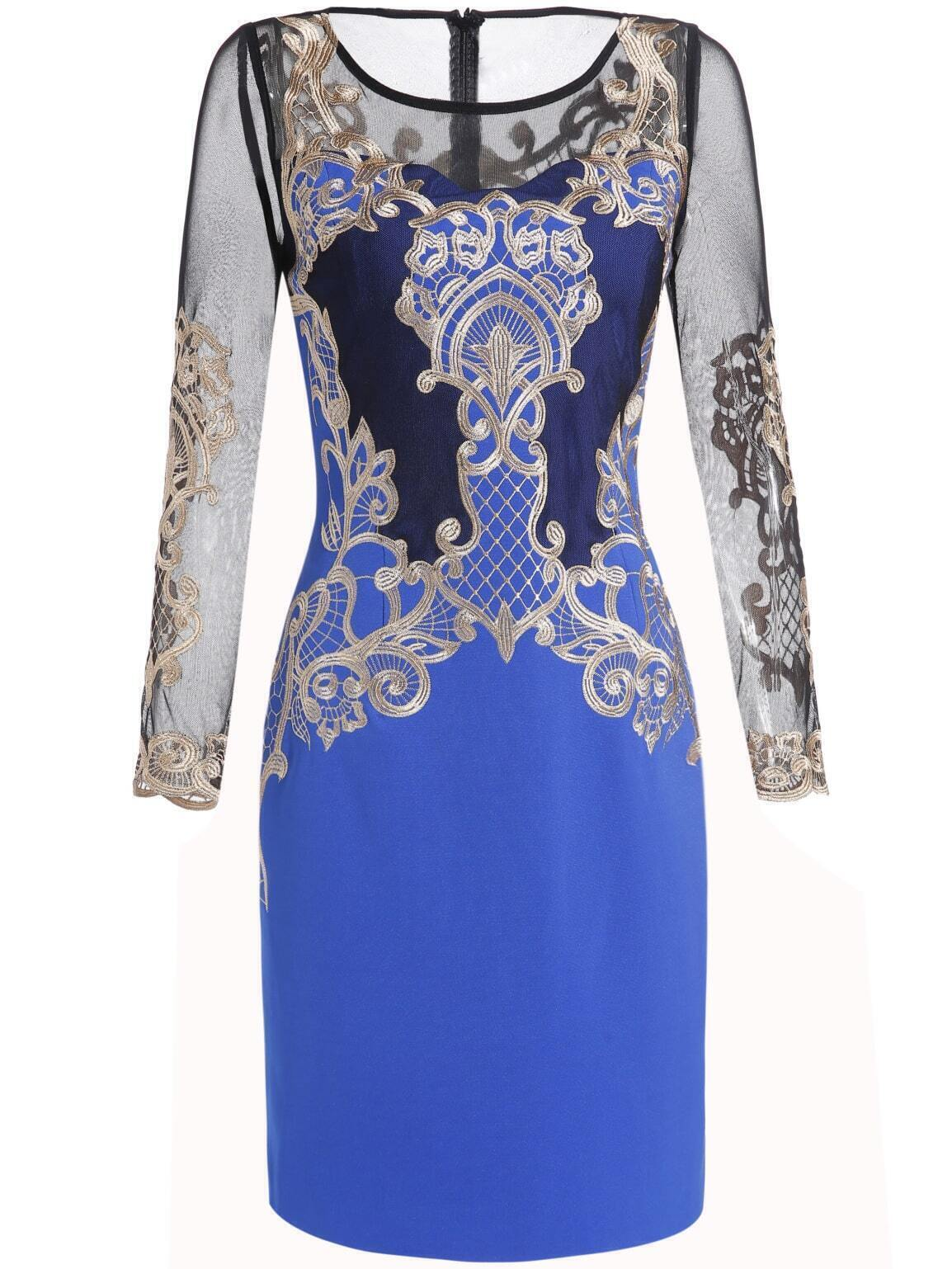 Blue Round Neck Long Sleeve Contrast Gauze Embroidered Dress