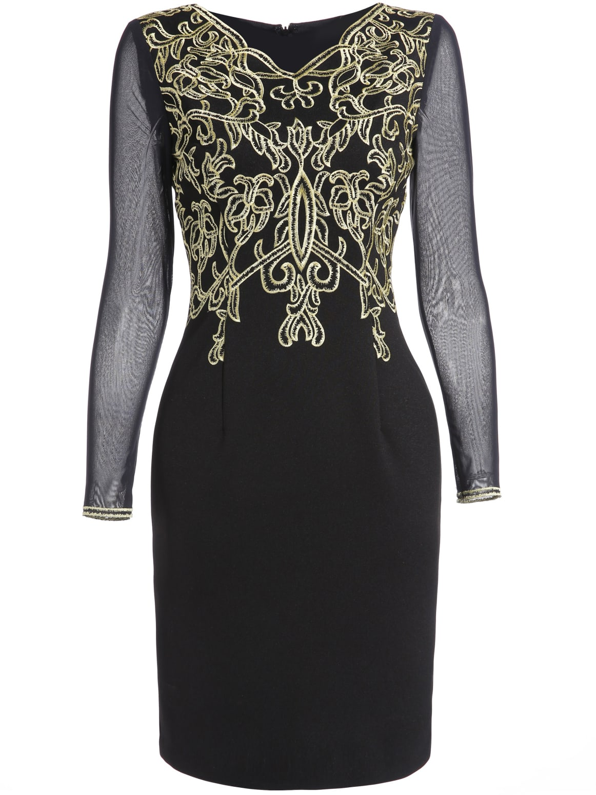 Black Round Neck Long Sleeve Contrast Gauze Embroidered Dress