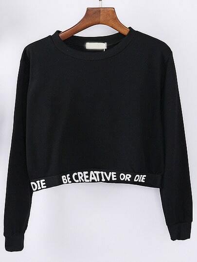 Letter Print Crop Sweatshirt
