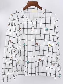 White Plaid Cloud Print Sweatshirt